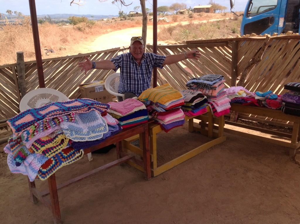 Knitted blankets, jumpers and hats donated by the knitting group
